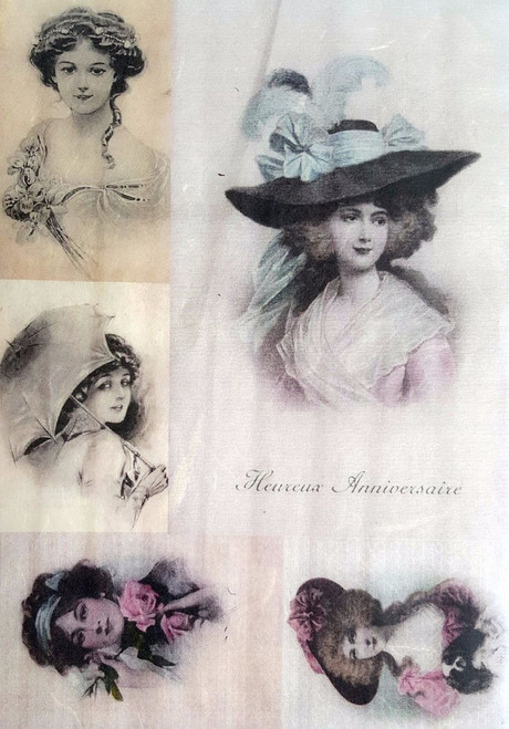 1 Sheet A4  Rice Paper for Decoupage Craft Vintage   -     Ladies Old Pictures