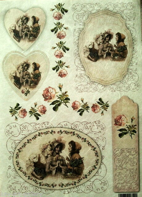 1 Sheet A4  Rice Paper for Decoupage Craft Vintage   - Ladies Vintage Hearts