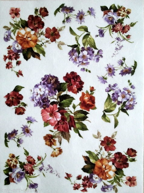 1 Sheet A4  Rice Paper for Decoupage Craft Vintage   -  Spring Garden World