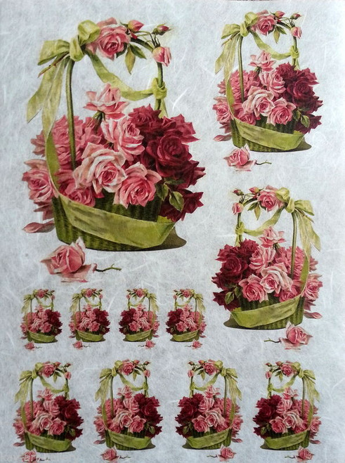 1 Sheet A4  Rice Paper for Decoupage Craft Vintage   -  Spring Garden Roses