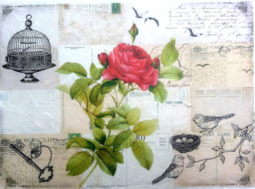 1 Sheet A4  Rice Paper for Decoupage Craft Vintage     -  Roses Art 2