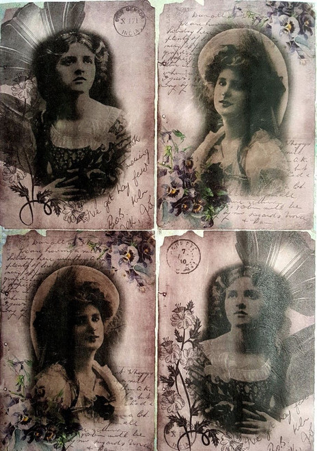 1 Sheet A4  Rice Paper for Decoupage Craft Vintage     -  Ladies Photos
