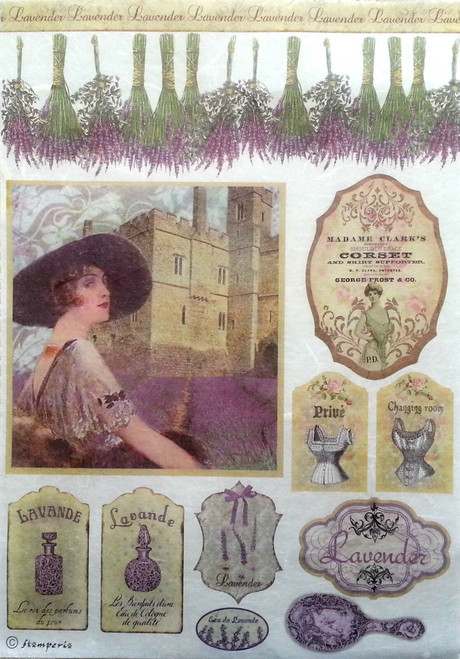 1 Sheet A4  Rice Paper for Decoupage Craft Vintage     -    Lavender Picture