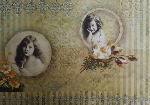 1 Sheet A4  Rice Paper for Decoupage Craft Vintage     -  Girl with Flowers1/1