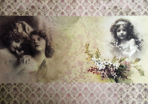 1 Sheet A4  Rice Paper for Decoupage Craft Vintage     -  Girl with Flowers 1/2