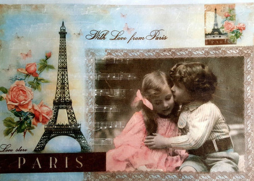 1 Sheet A4  Rice Paper for Decoupage Craft Vintage     -  Love in Paris