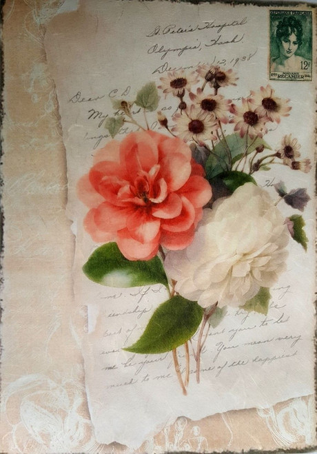 1 Sheet A4  Rice Paper for Decoupage Craft Vintage     -   Love with Rose