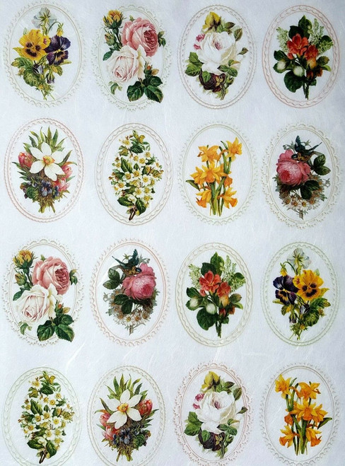 1 Sheet A4  Rice Paper for Decoupage Craft Vintage     -   Rose in Frames