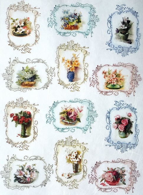 1 Sheet A4  Rice Paper for Decoupage Craft Vintage     -   Rose in Frames  3