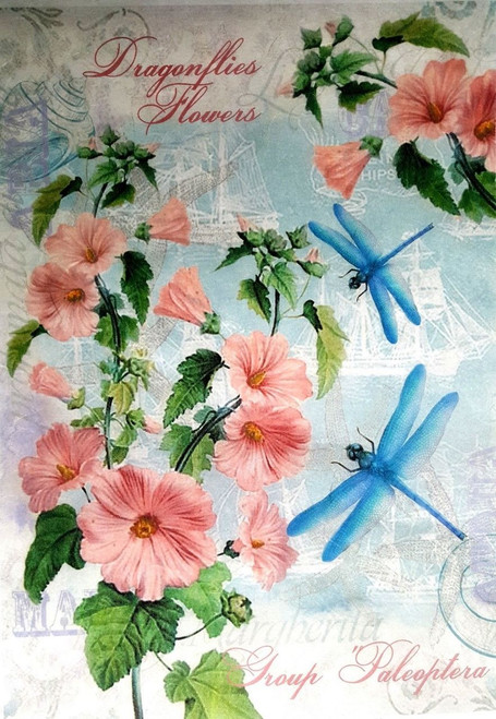 1 Sheet A4  Rice Paper for Decoupage Craft Vintage     -   Blue Dragonfly
