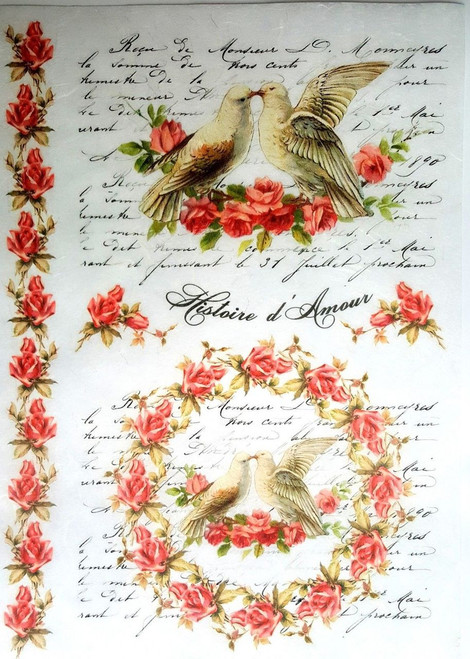 1 Sheet A4  Rice Paper for Decoupage Craft Vintage     -   Wedding Lovebirds