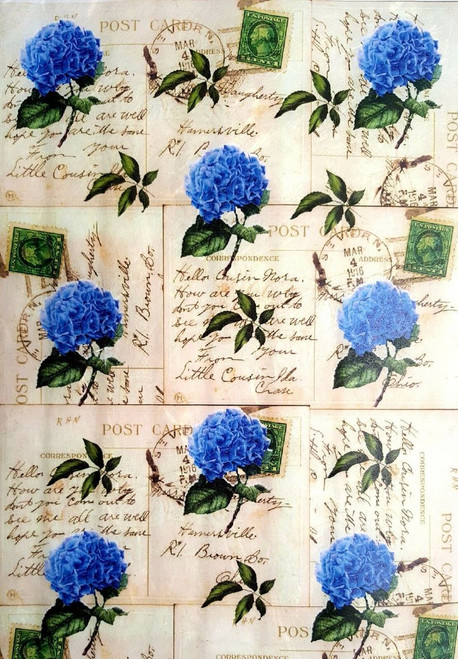 1 Sheet A4  Rice Paper for Decoupage Craft Vintage     -   Blue Labels Hydrangea