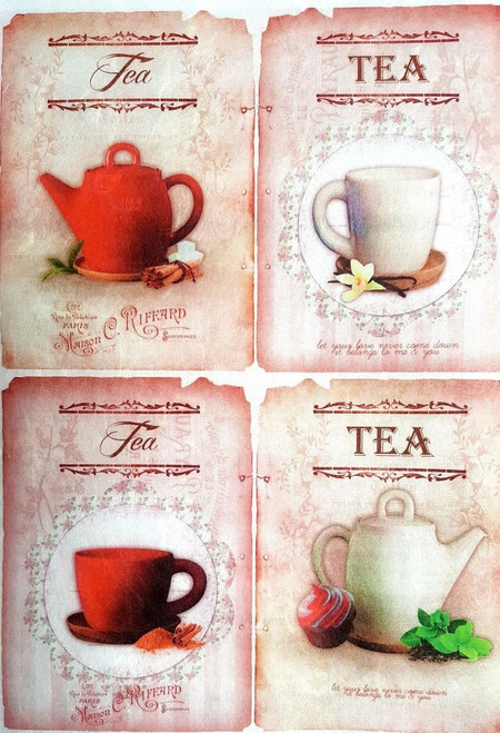 Rice Paper for Decoupage Craft Vintage,  1Sheet A4  - Tea Time Pink Collage