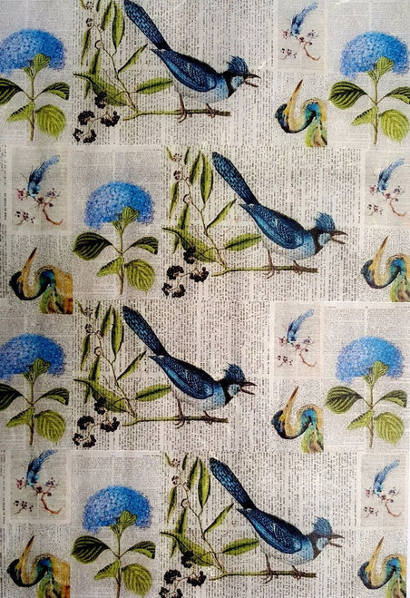 Rice Paper for Decoupage Craft Vintage,  1Sheet A4  -   Blue Birds Newspaper
