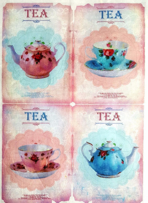 1 Sheet A4  Rice Paper for Decoupage Craft Vintage     -   Tea Time Pink / Blue