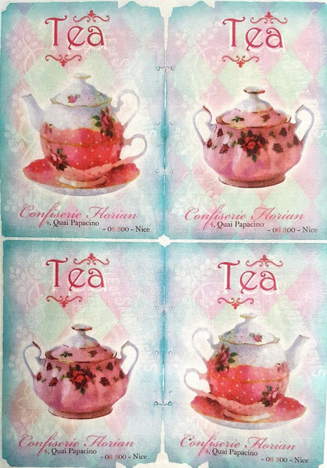 1 Sheet A4  Rice Paper for Decoupage Craft Vintage     -    Tea Time Blue/Pink