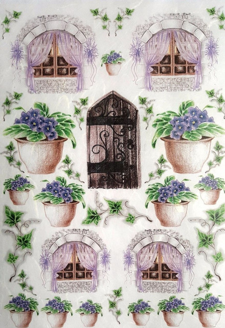 1 Sheet A4  Rice Paper for Decoupage Craft Vintage    - Village Flowers