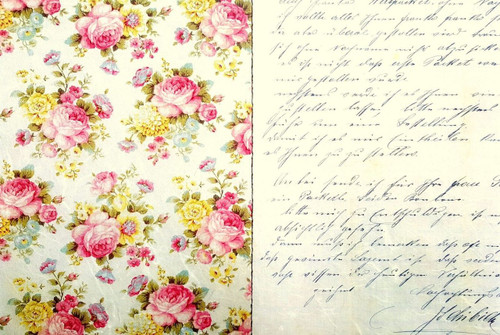1 Sheet A4  Rice Paper for Decoupage Craft Vintage    -   Village Flowers Alice Roses