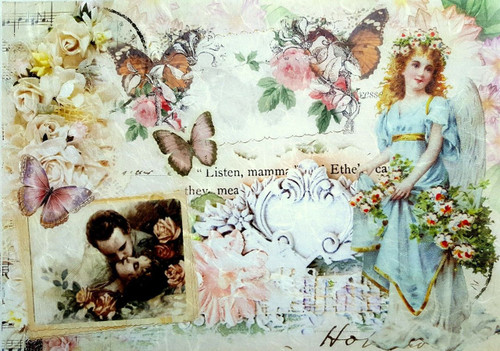 1 Sheet A4  Rice Paper for Decoupage Craft Vintage    -  Village Love