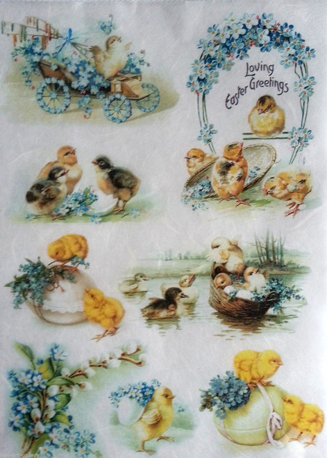 1 Sheet A4  Rice Paper for Decoupage Craft Vintage    -  Easter Picture 45