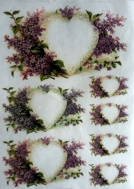 1 Sheet A4  Rice Paper for Decoupage Craft Vintage    -  Lavender Hearts