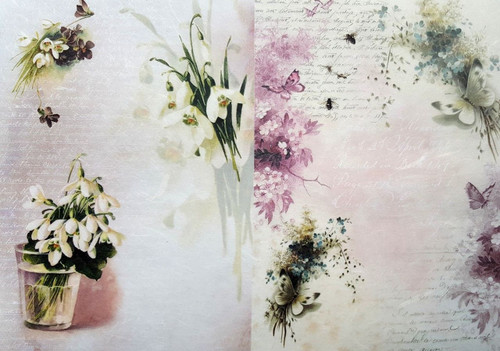 1 Sheet A4  Rice Paper for Decoupage Craft Vintage    -    Spring Around