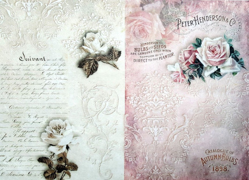 Rice Paper for Decoupage Craft Vintage, 1 Sheet A4 - Vintage Letters Roses