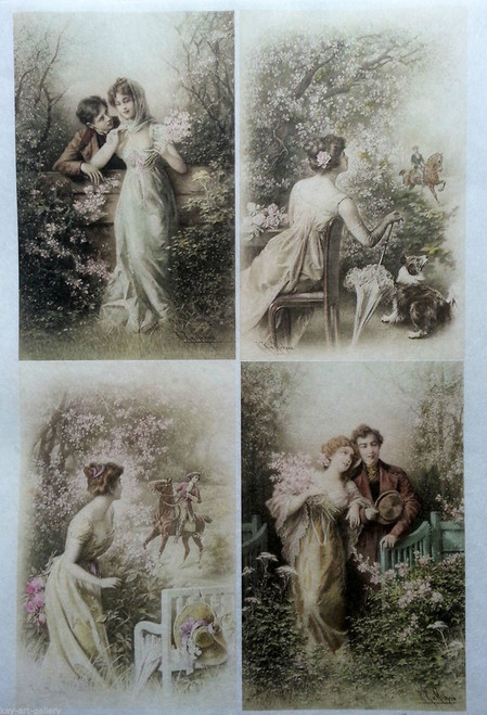 Rice Paper for Decoupage Craft Vintage,  1 Sheet A4 -   Romantic Love