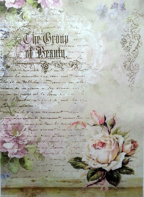 Rice Paper for Decoupage Craft Vintage,  1 Sheet A4 -  Romantic Magic Roses