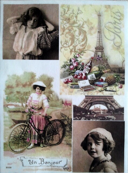 Rice Paper for Decoupage Craft Vintage,  1 Sheet A4 -  Paris Girls