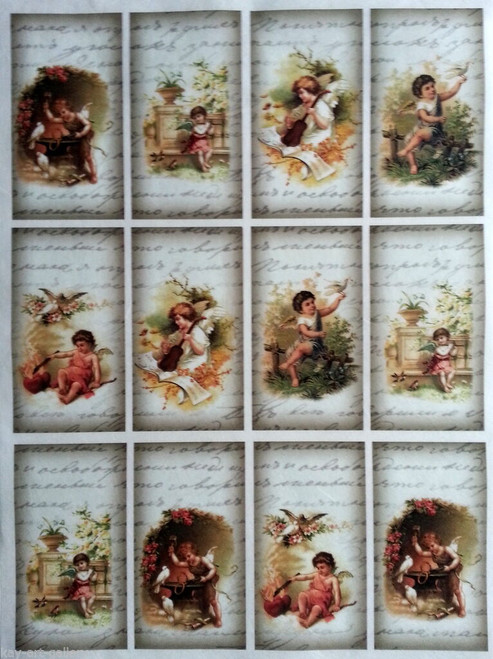 Rice Paper for Decoupage Craft Vintage,  1 Sheet A4 -  Angels Labels, Tags