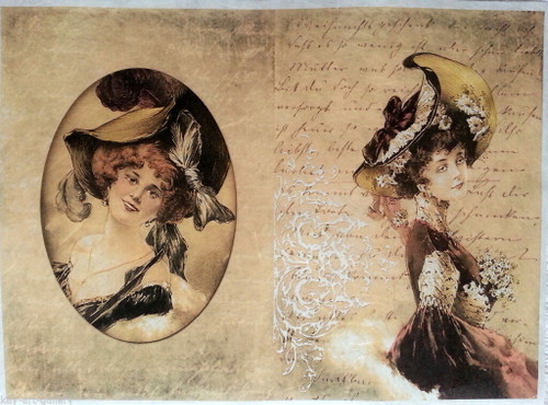 Rice Paper for Decoupage Craft Vintage,  1 Sheet A4 -   Madame , Lady
