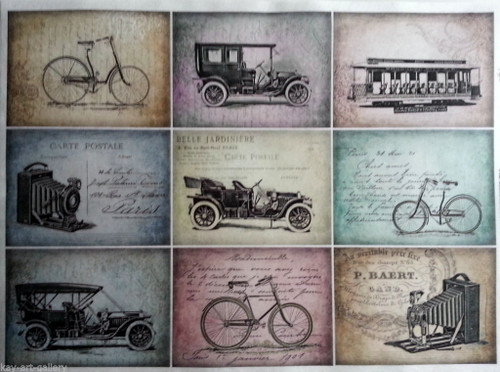 Rice Paper for Decoupage Craft Vintage,  1 Sheet A4 - Cars , Labels, Tags