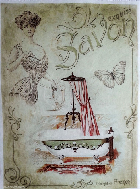 Rice Paper for Decoupage Craft Vintage,  1 Sheet A4 - Bathroom, Vintage Lady