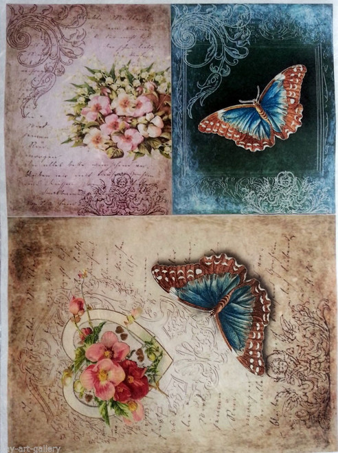Rice Paper for Decoupage Craft Vintage,  1 Sheet A4 -  Butterflies and Heart