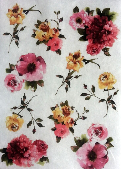 Rice Paper for Decoupage Craft Vintage,  1 Sheet A4 - Flowers Picture