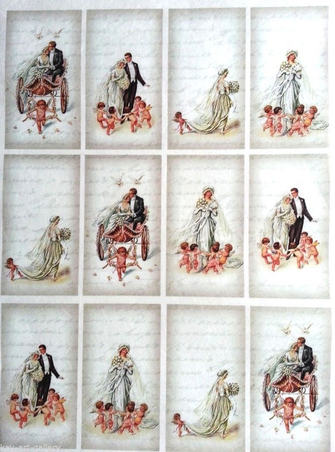 Rice Paper for Decoupage Craft Vintage,  1 Sheet A4 - Wedding Labels, Tags
