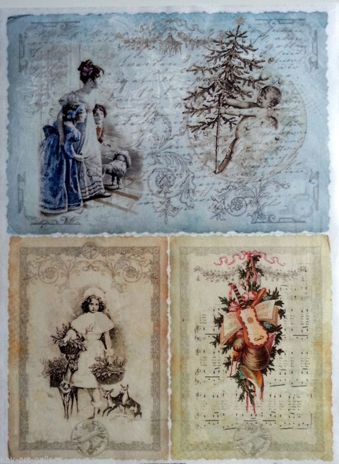 Rice Paper for Decoupage Craft Vintage,  1 Sheet A4 -  Christmas Pictures