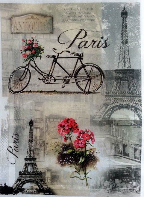 1 Sheet A4  Rice Paper for Decoupage Craft Vintage    -  Paris and Bike