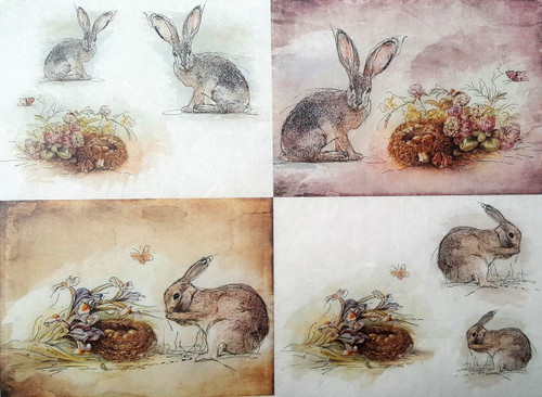 1 Sheet A4  Rice Paper for Decoupage Craft Vintage    -   Easter Rabbits