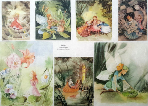1 Sheet A4  Rice Paper for Decoupage Craft Vintage    -  Fairy Around