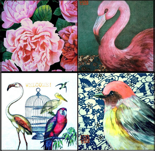 4 Different Single Table Paper Napkins, Party Lunch Decoupage Tropical