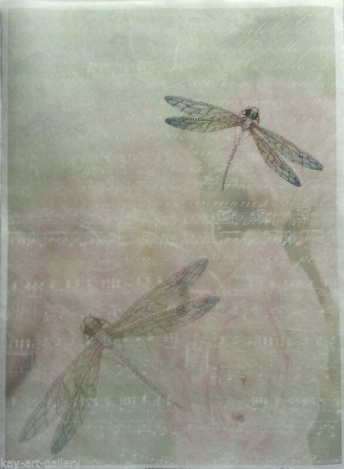 1 Sheet A4  Rice Paper for Decoupage Craft Vintage    -  Dragonflies