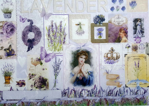 1 Sheet A4  Rice Paper for Decoupage Craft Vintage    -  Lavender Ornaments