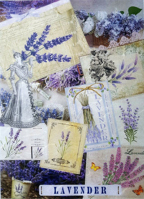 1 Sheet A4  Rice Paper for Decoupage Craft Vintage    -  Lavender Collage