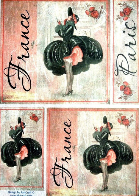 1 Sheet A4  Rice Paper for Decoupage Craft Vintage    -   Paris France Lady