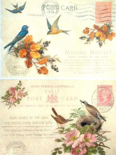 1 Sheet A4  Rice Paper for Decoupage Craft Vintage    -   Birds Picture, Swallows