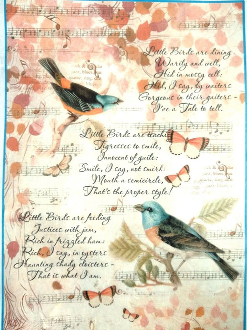 1 Sheet A4  Rice Paper for Decoupage Craft Vintage    -    Birds Picture 4