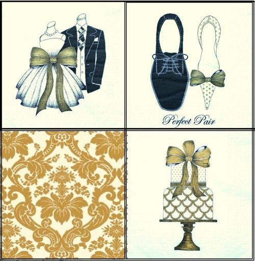 4 Different Single Table Paper Napkins, Party Lunch Decoupage Wedding