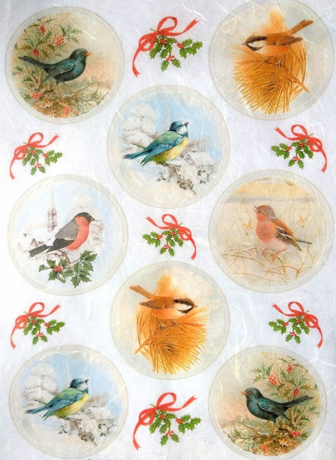 1 Sheet A4  Rice Paper for Decoupage Craft Vintage    -  Birds Tags
